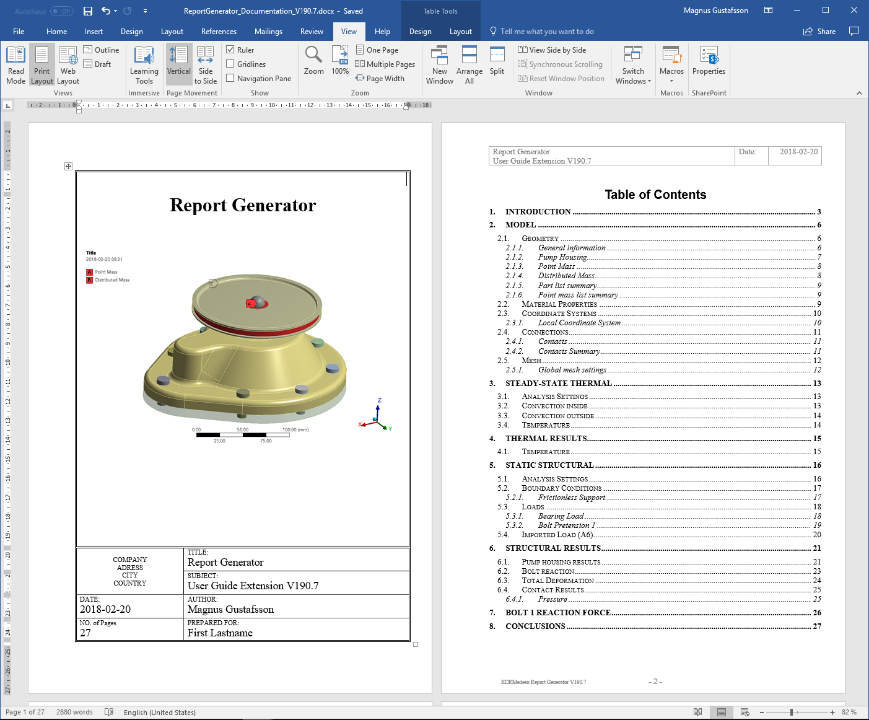ANSYS Store Report Generator