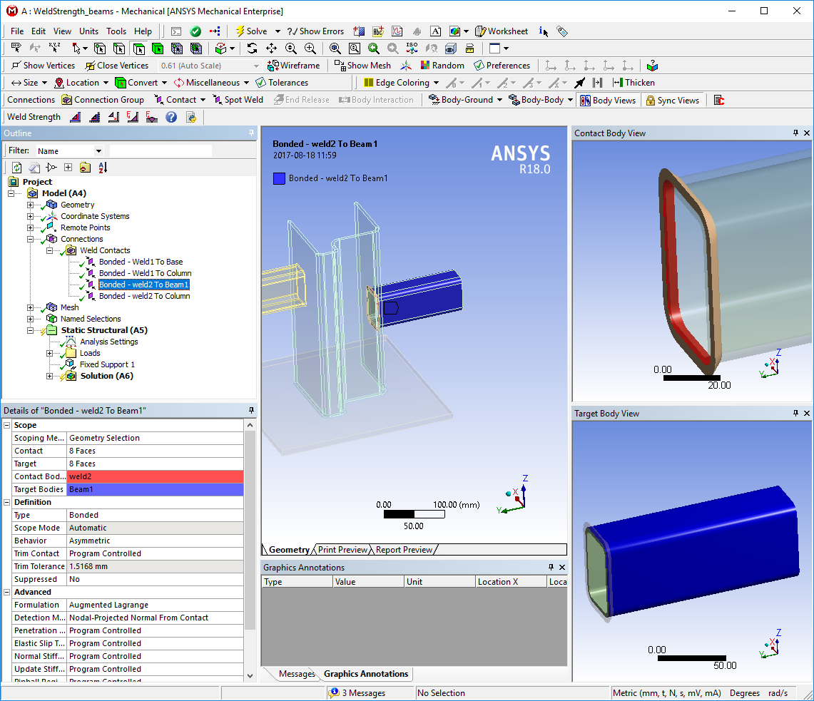 ANSYS Store Weld Strength